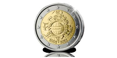 Officiële 2 Euro Herdenkingsmunt: 10 jaar Euro in België