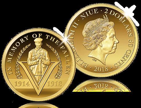 Herdenkingsmunt, Officiële $2,5 ter nagedachtenis aan 100 jaar Groote Oorlog, puur goud