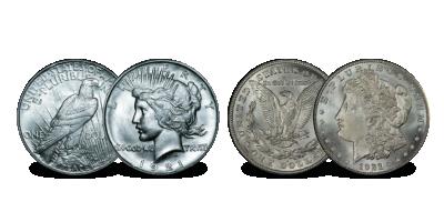 Iconische 2-delige set Last Morgan Dollar & High Relief Peace Dollar