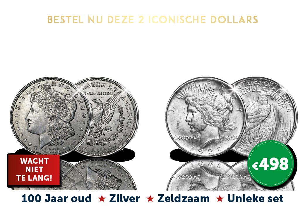 2 Iconische Dollars, 1921. Laatste Morgan Dollar + Hoog reliëf Peace Dollar
