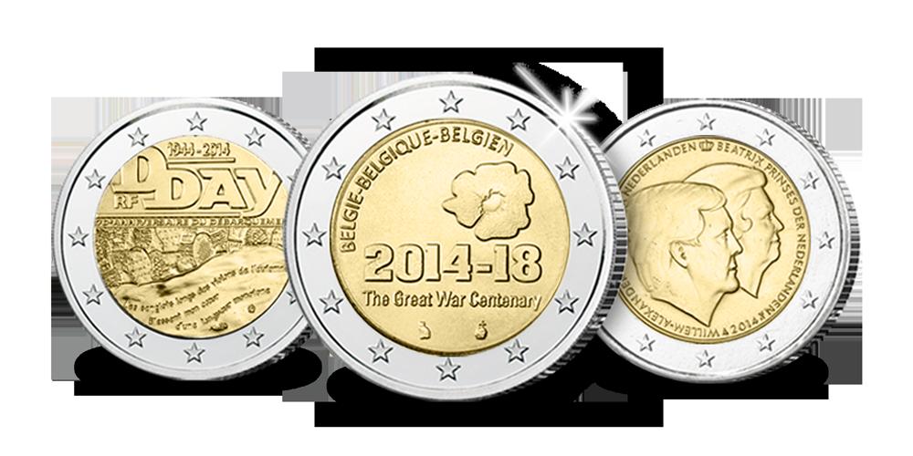 3 gelimiteerde, €2-Herdenkingsmunten met hoge korting