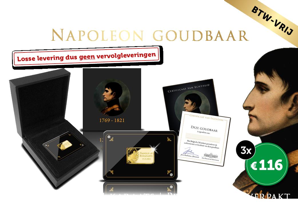 Massieve 24-karaats goudbaar 200ste sterfdag Napoleon