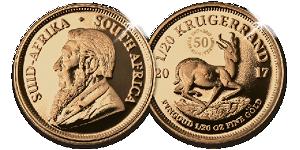 Krugerrand munt voor- en achterzijde