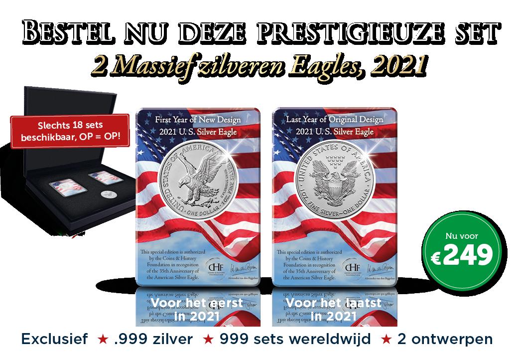 Set van 2 Zilveren Eagle Dollars