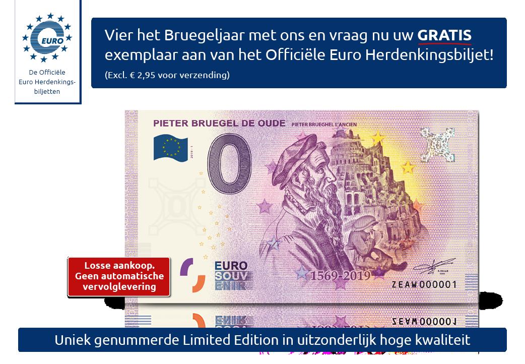 Gratis officieel Bruegel Euro Herdenkingsbiljet
