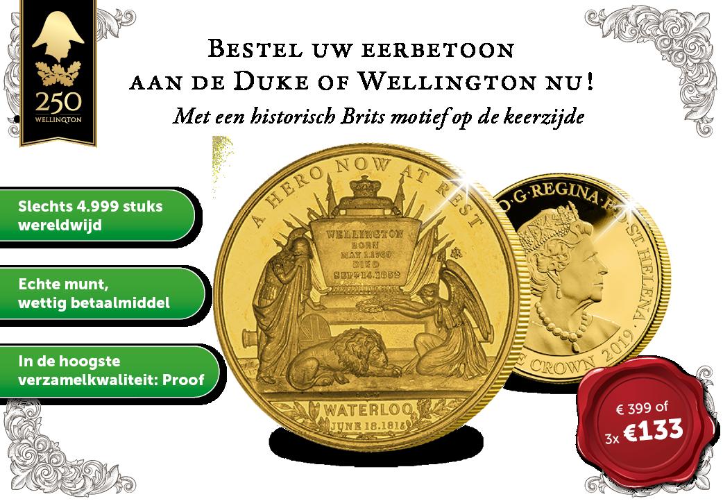 Bestel uw gouden eerbetoon aan de Duke of Wellington nu!