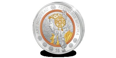 Prachtige kunstwerk van Alfons Mucha op een munt 'Art Nouveau'