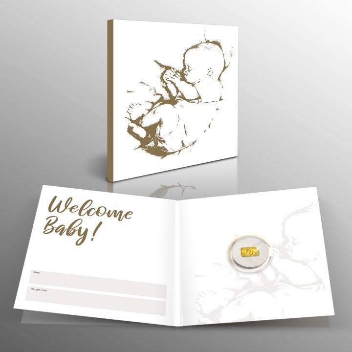 Geluksbaar in 1/100 Oz puur goud met Baby cadeaukaart