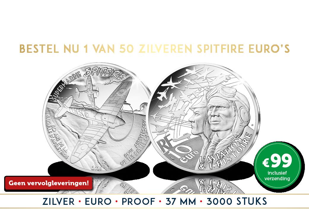 De zilveren Spitfire Euromunt