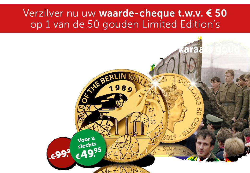 24-karaats gouden munt ter ere van de val van de Berlijnse Muur.