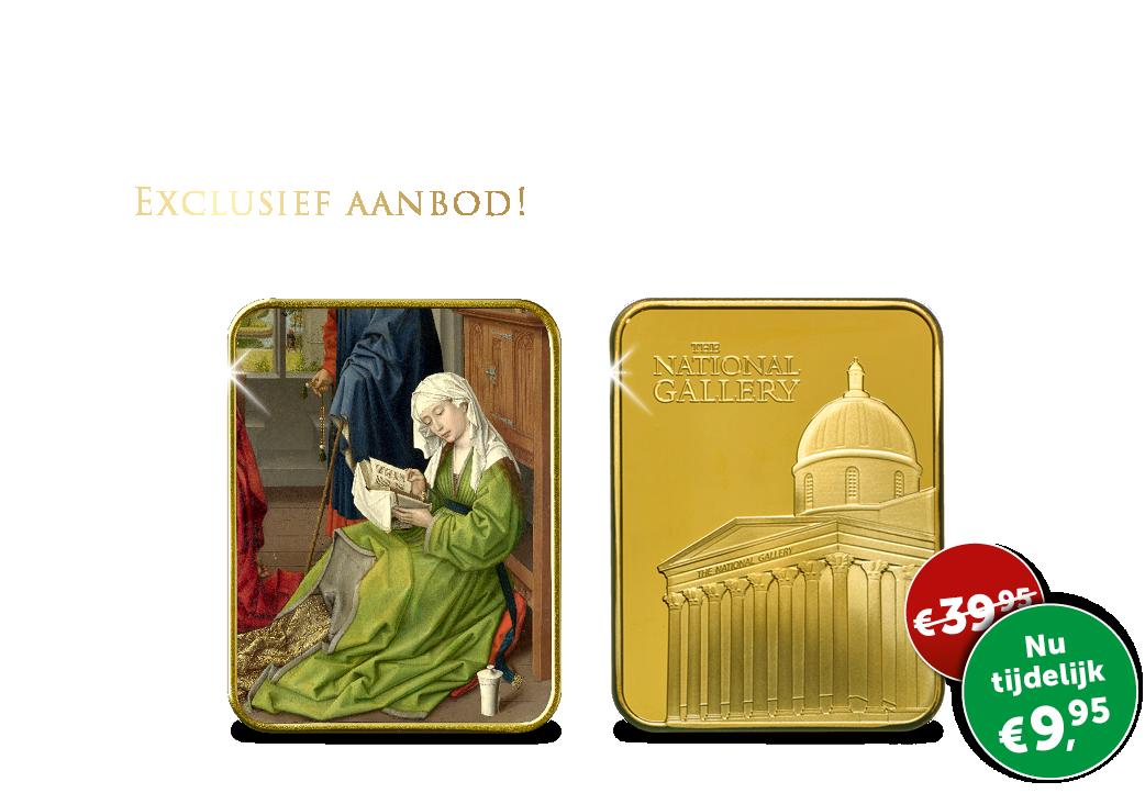 """Gelimiteerde kunstbaar verguld in 24-karaats goud """"Maria Magdalena leest"""""""