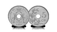 5 centiemen set Albert 1, 1910-1932, 5 centiem