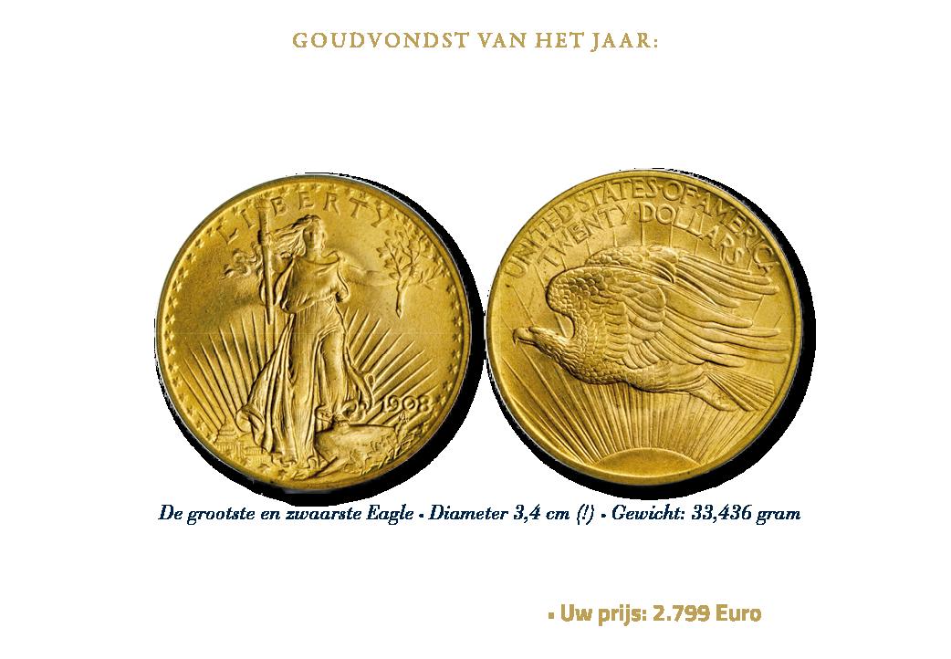 Goudvondst van het jaar: 1908 St. Gaudens Double Eagle - no motto