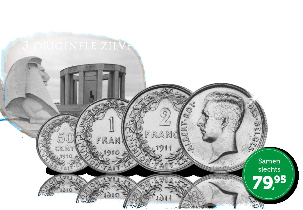 Complete set van 3 zilveren Franken – Albert I