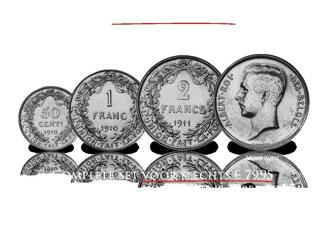 Nieuw! - Massief zilveren originele Albert I - Franken set!
