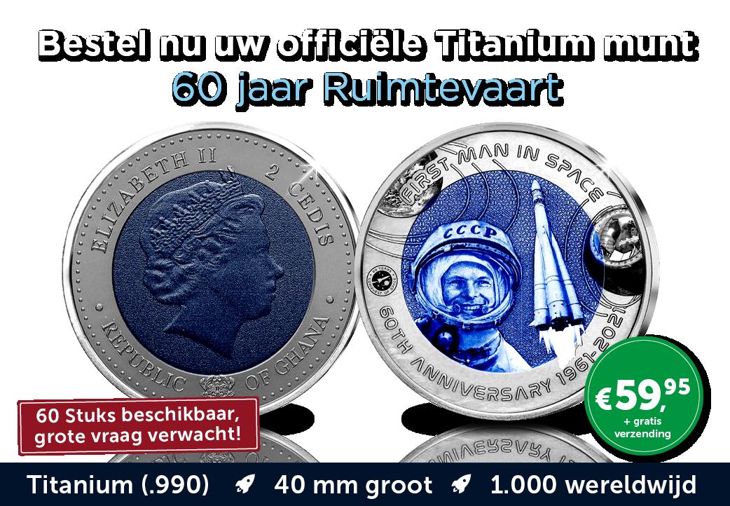 Officiële Titanium munt - 60 jaar ruimtevaart