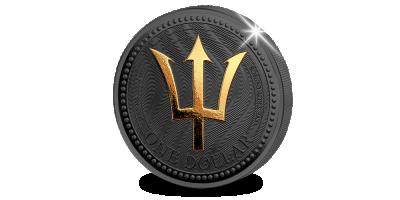 De drietand in zwart goud