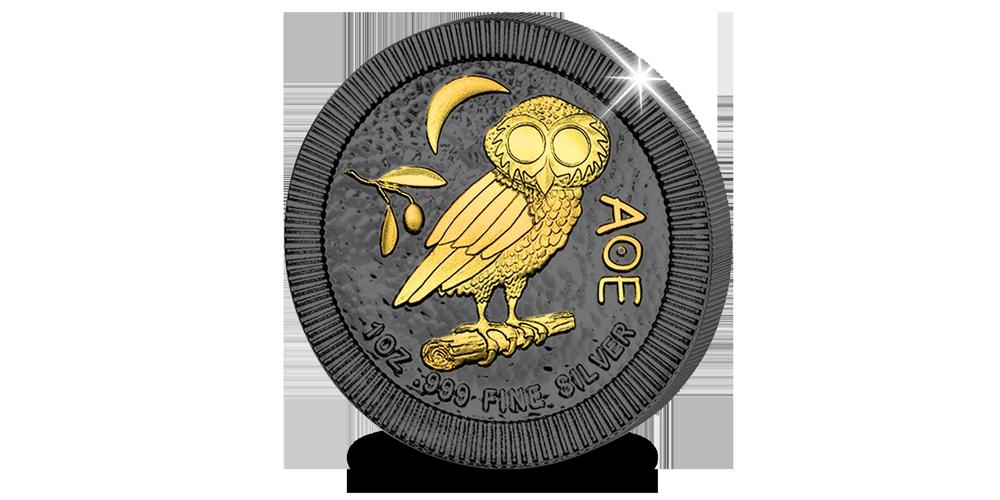 Uil van Athene, Zwartgoud, puur zilveren munt