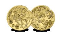 herdenkingsmunt, einde groote oorlog, 50 euro, puur goud