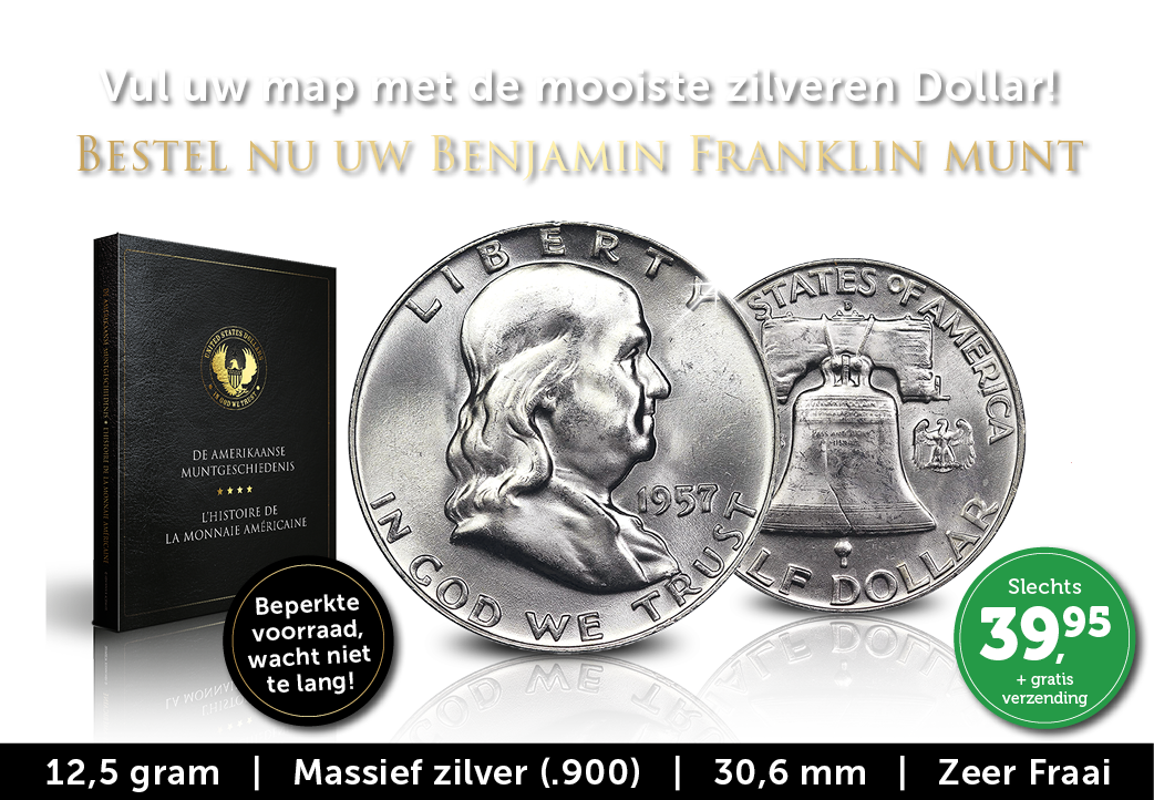 Iconische zilveren Dollarmunt: Benjamin Franklin
