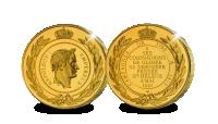 Vergulde herslag van de originele St. Helena medaille op reusachtig formaat voor en keerzijde