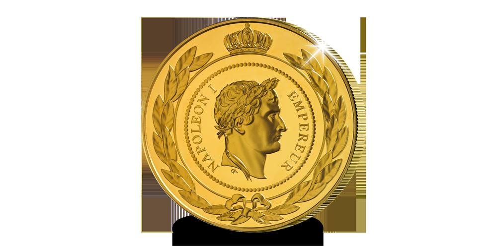 Vergulde herslag van de originele St. Helena medaille op reusachtig formaat voorzijde