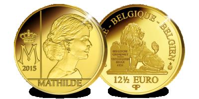 Een van de laatste Gouden 12,50 Euro's geslagen in Brussel - Koningin Mathilde in puur Goud