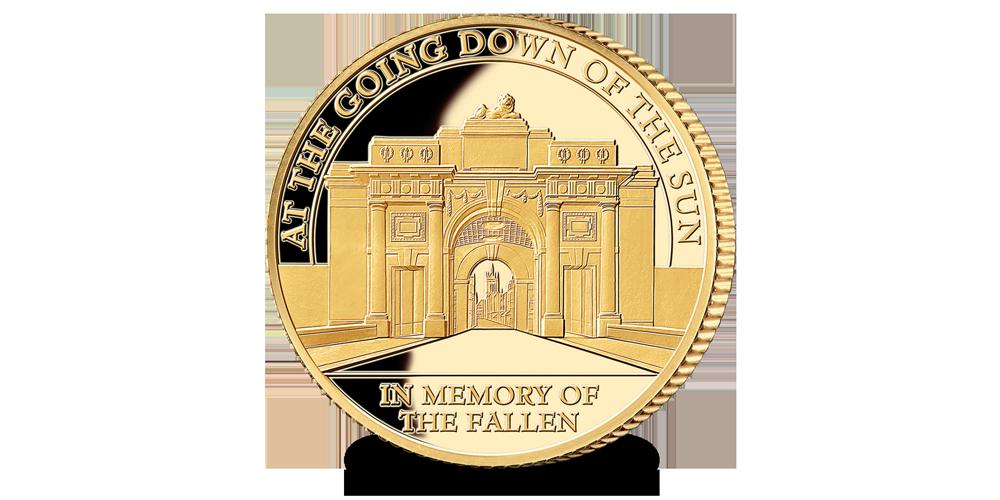 Limited edition herdenkingsmunt: De Menenpoort in 9-karaats goud.