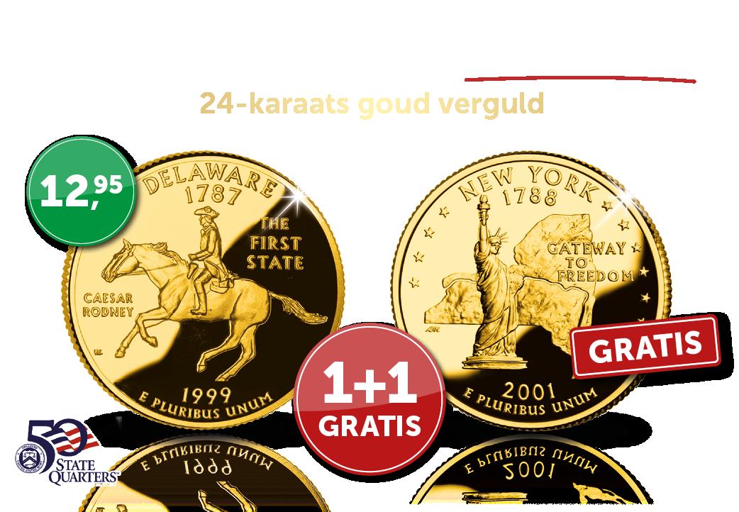 Bestel nu het nog kan de 24-karaats goud vergulde Dollar-munt van de staat Delaware en u ontvangt volledig gratis van ons de munt van de Staat New York.