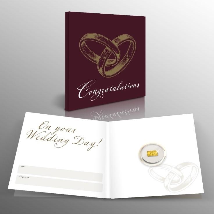 Geluksbaar in 1/100 Oz puur goud met Huwelijk cadeaukaart