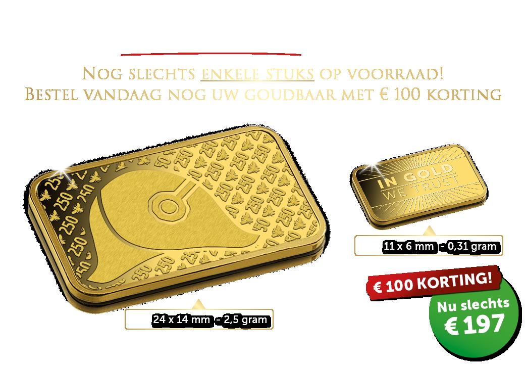 GOUDKOORTS!  € 100,- korting op uw volgende goudbaar!