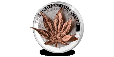De 'Japanese Maple leaf' in puur zilver met gouden 3D blad