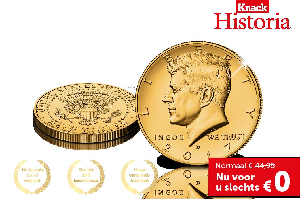 De JFK Herdenkingsdollar verguld met 24-karaats goud
