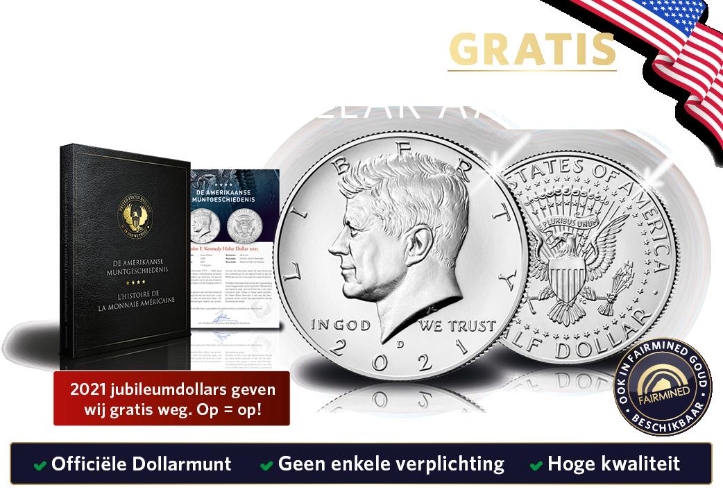 Wij geven 2021 gratis JFK-Dollars weg in dit jubileumjaar, maar Op=Op!