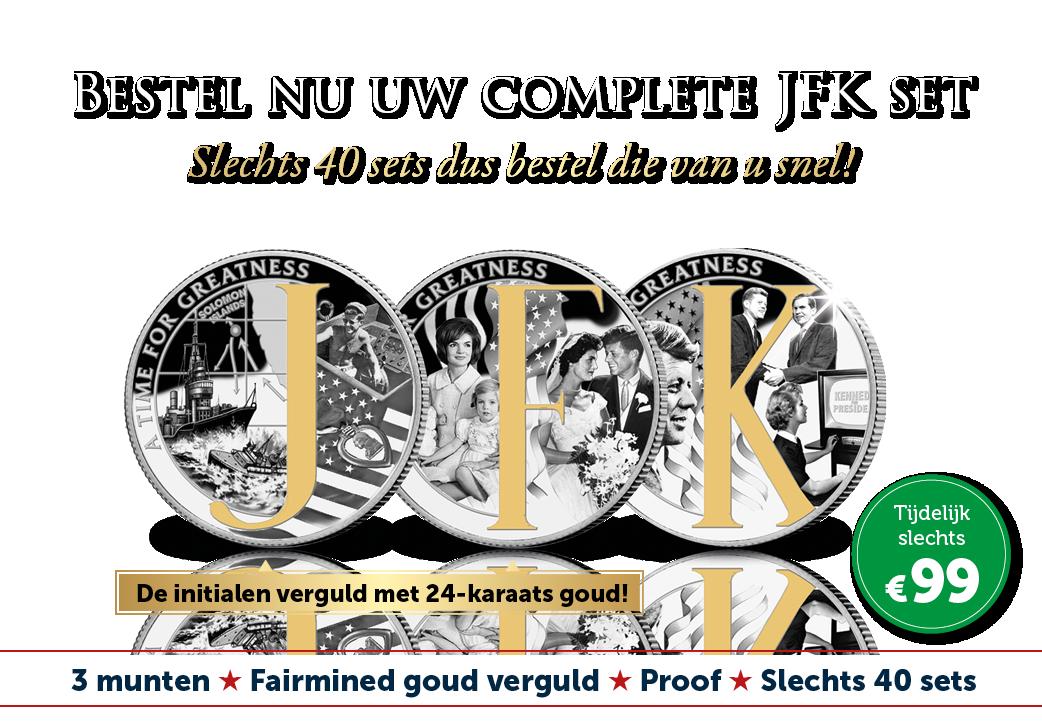 De complete 3-delige Fairmined goud vergulde JFK herdenkingsset