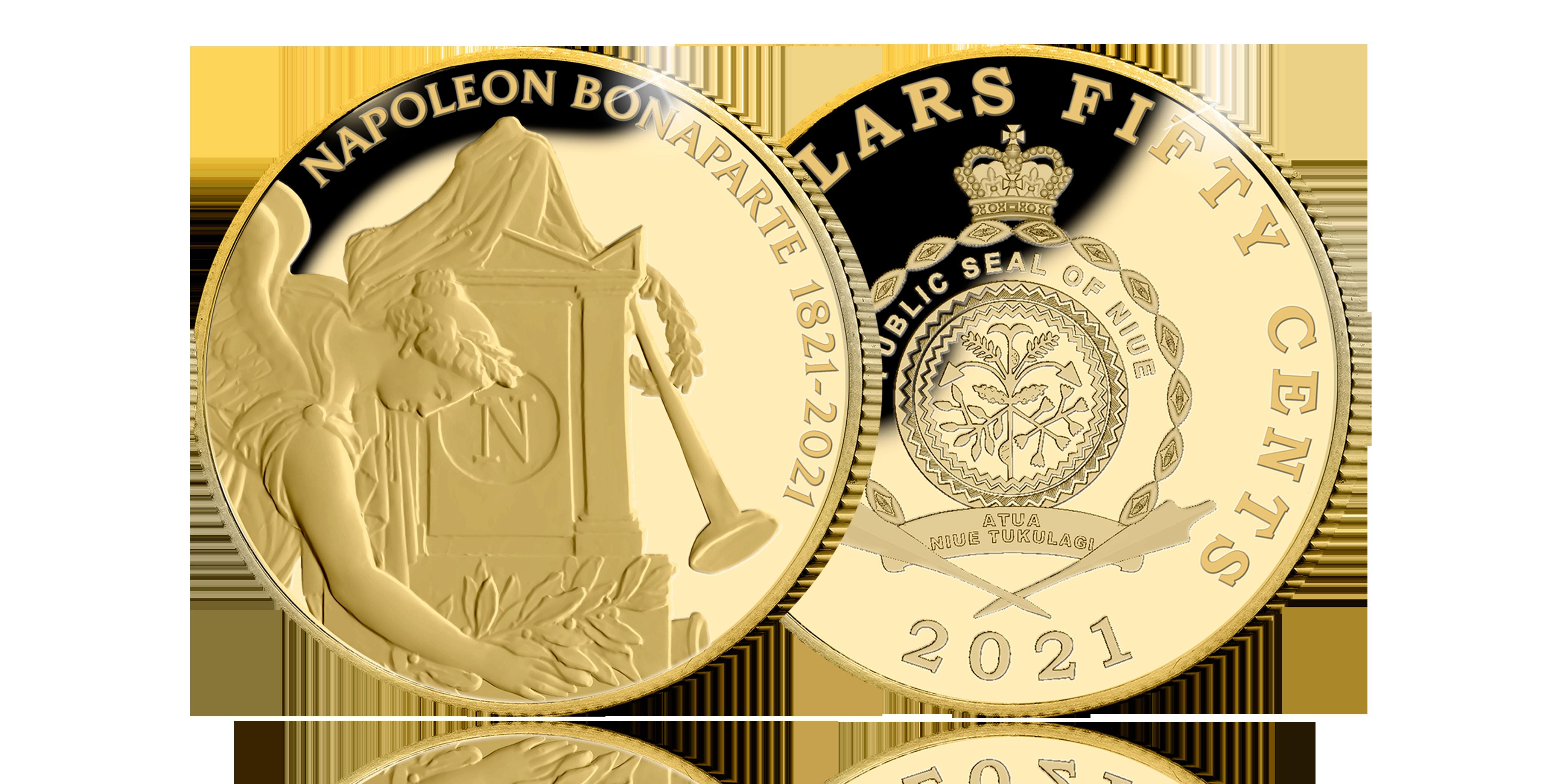 Herdenk de 200ste sterfjaar van Napoleon Bonaparte met een 24-karaats gouden munt voor en keerzijde