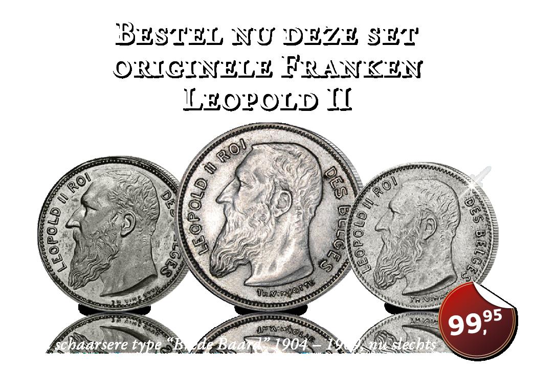De Koning met 'brede baard' op zijn laatste zilveren 2 Frank, 1 Frank en 50 centiemen