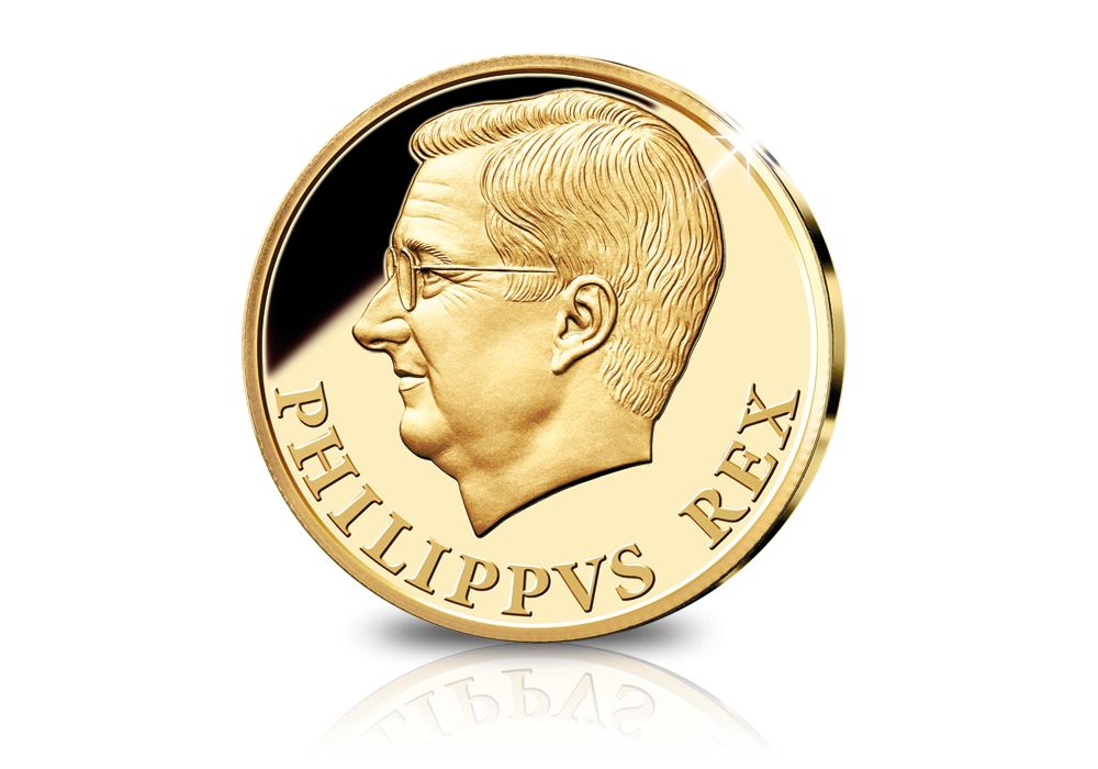 Koning Filip in massief goud