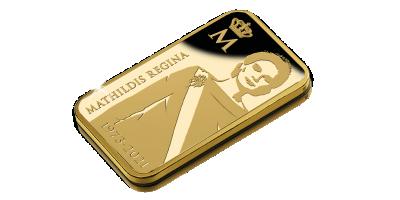 Uw 2,5 gram puur gouden baar ter ere van de verjaardag van Koningin Mathilde
