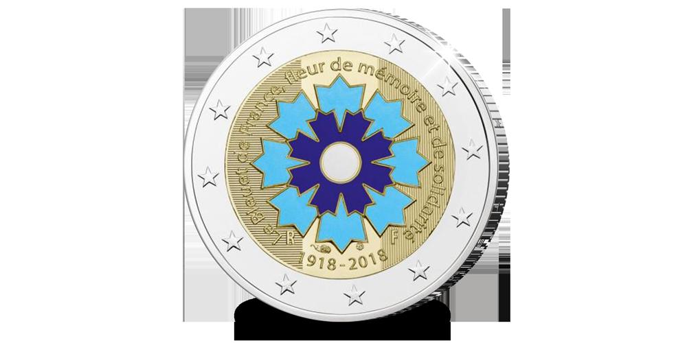 herdenkingseuro, frankrijk 2018, korenbloem, cornflower, WW1