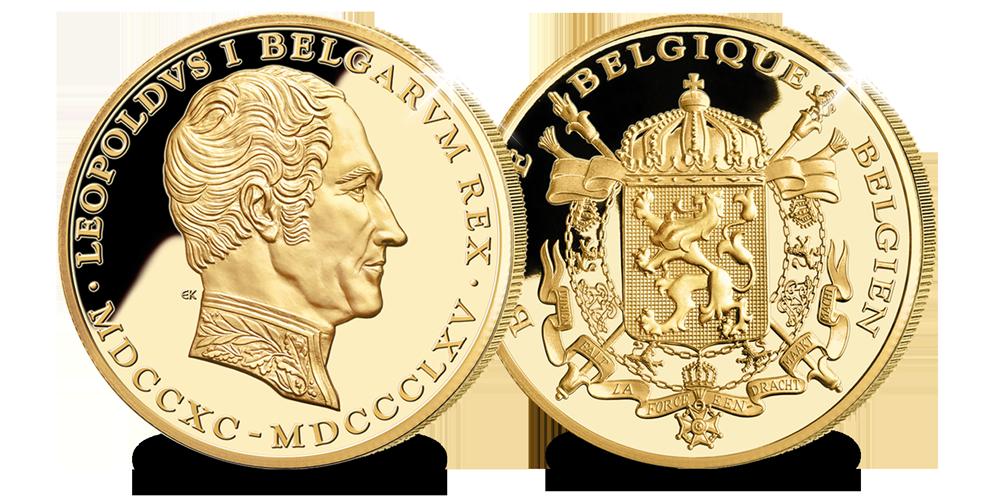 Leopold 1, 14 karaats goud, Herdenkingsmunt, Belgische Stamboom
