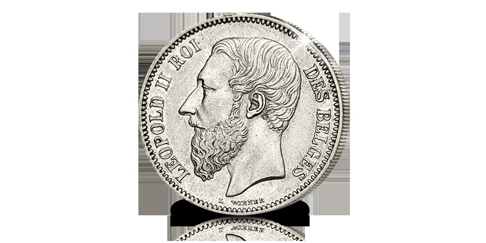 Leopold 2, 1904-1909, massief zilveren munten