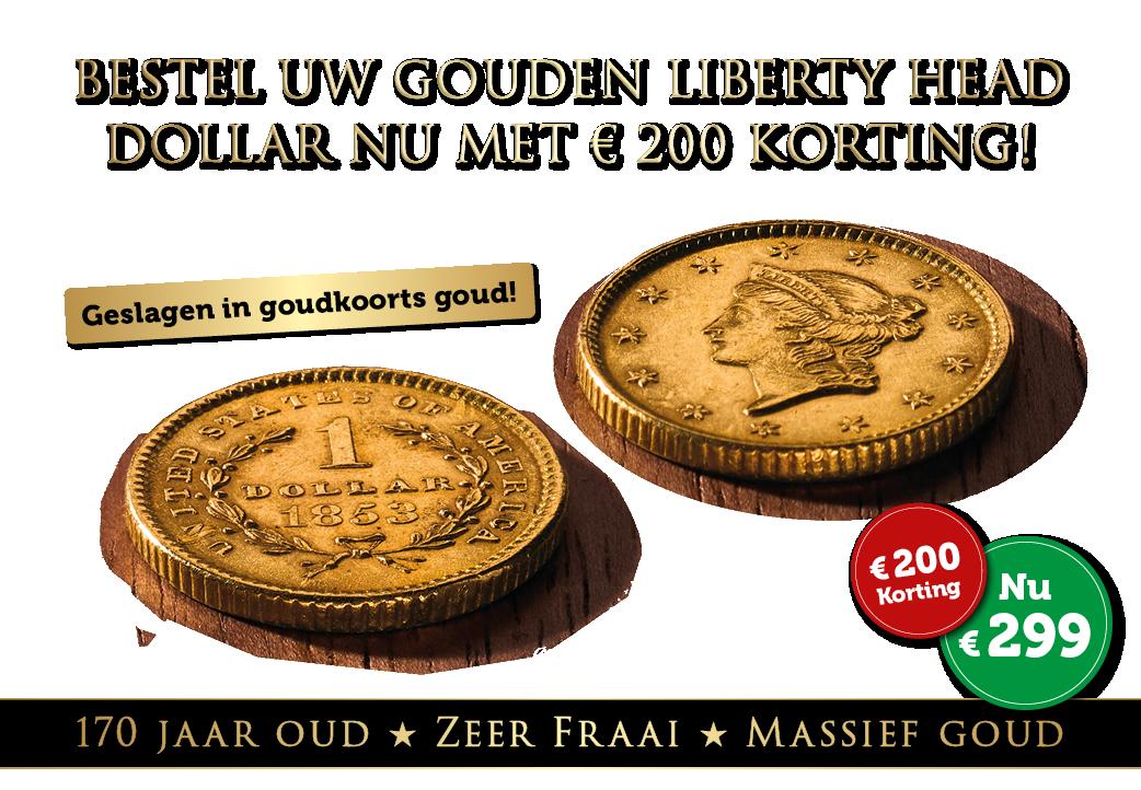 Massief gouden Liberty Head $1 Dollar