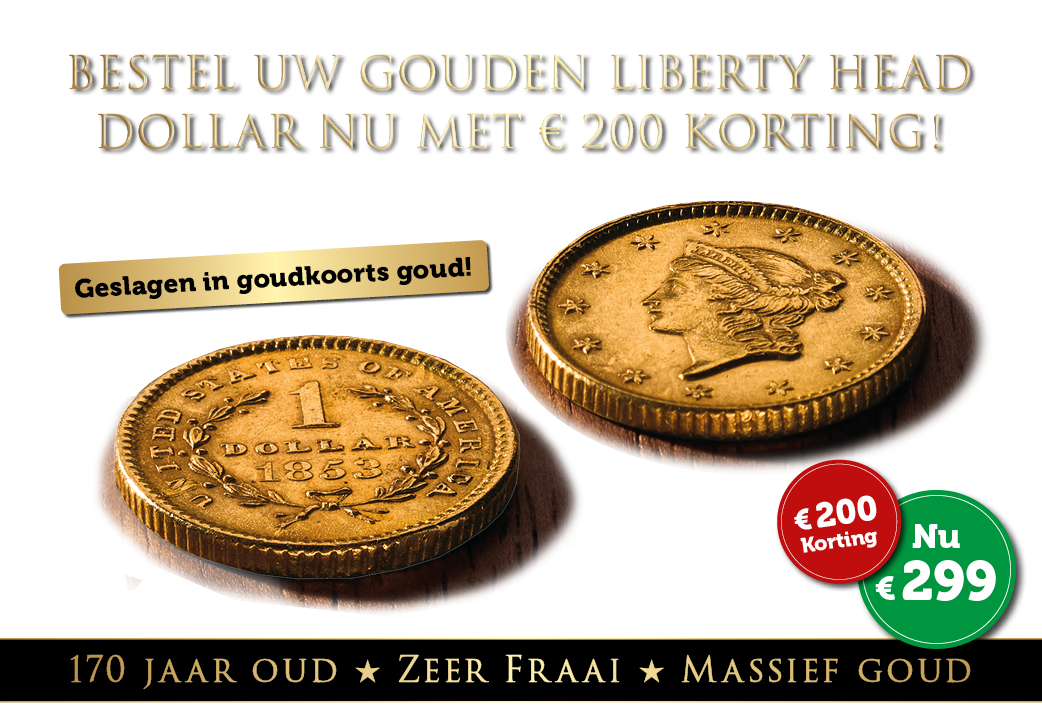 Massief gouden Liberty Head $1 Dollar