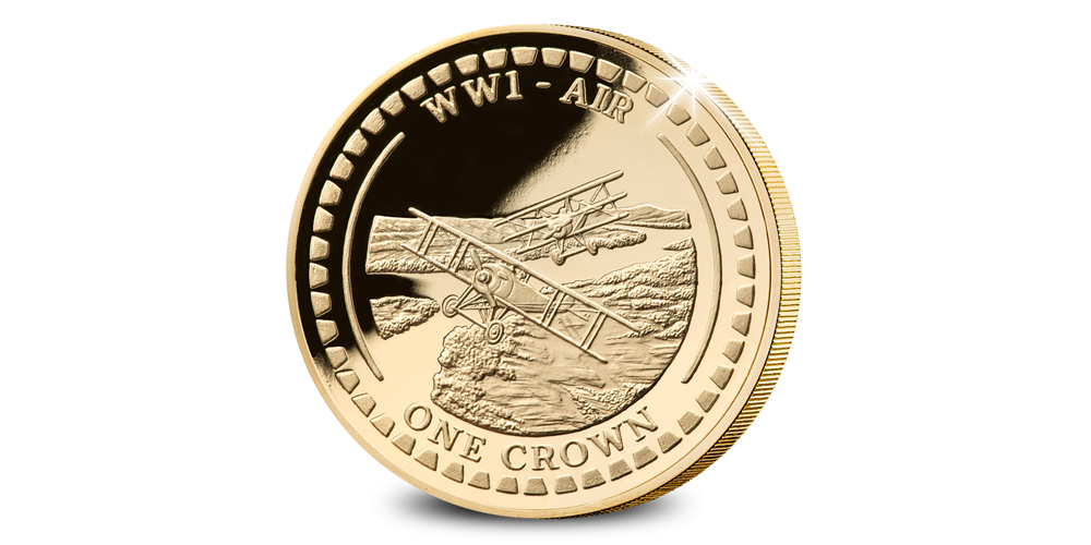 De eerste luchtgevechten verguld in 24-karaats goud, herdenkingsmunt