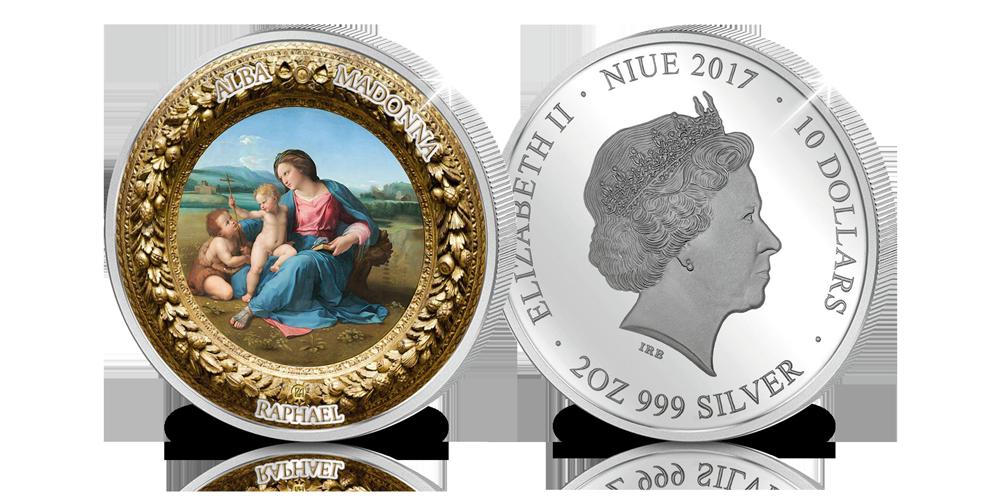 Madonna van Alba, Rafael, Puur zilveren munt, Proof-like