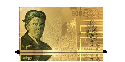 Nu voor het eerst in 24-karaats goud: replica 500 Frank-biljet Magritte