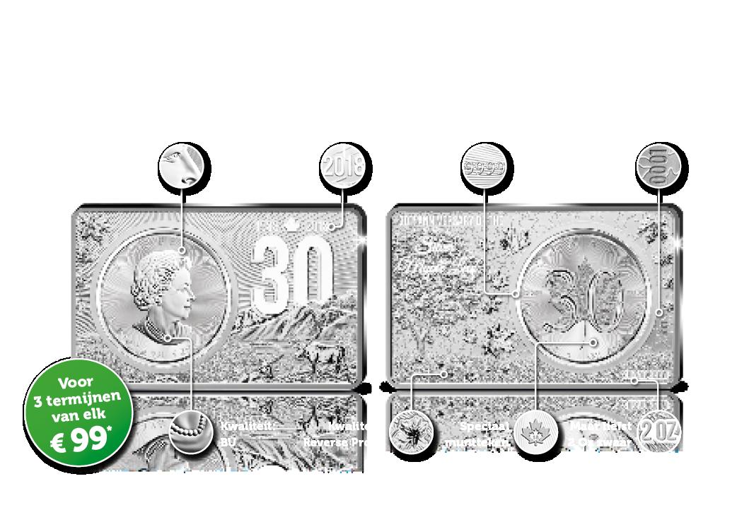 De Zilveren Maple Leaf Jubileum Editie Totaal 3 troy ounce zilver | Voor het eerst: 99,99% zuiver