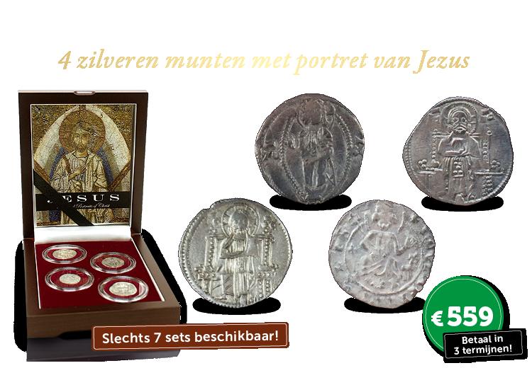 Set van 4 zilveren Byzantijnse munten met portret van Jezus