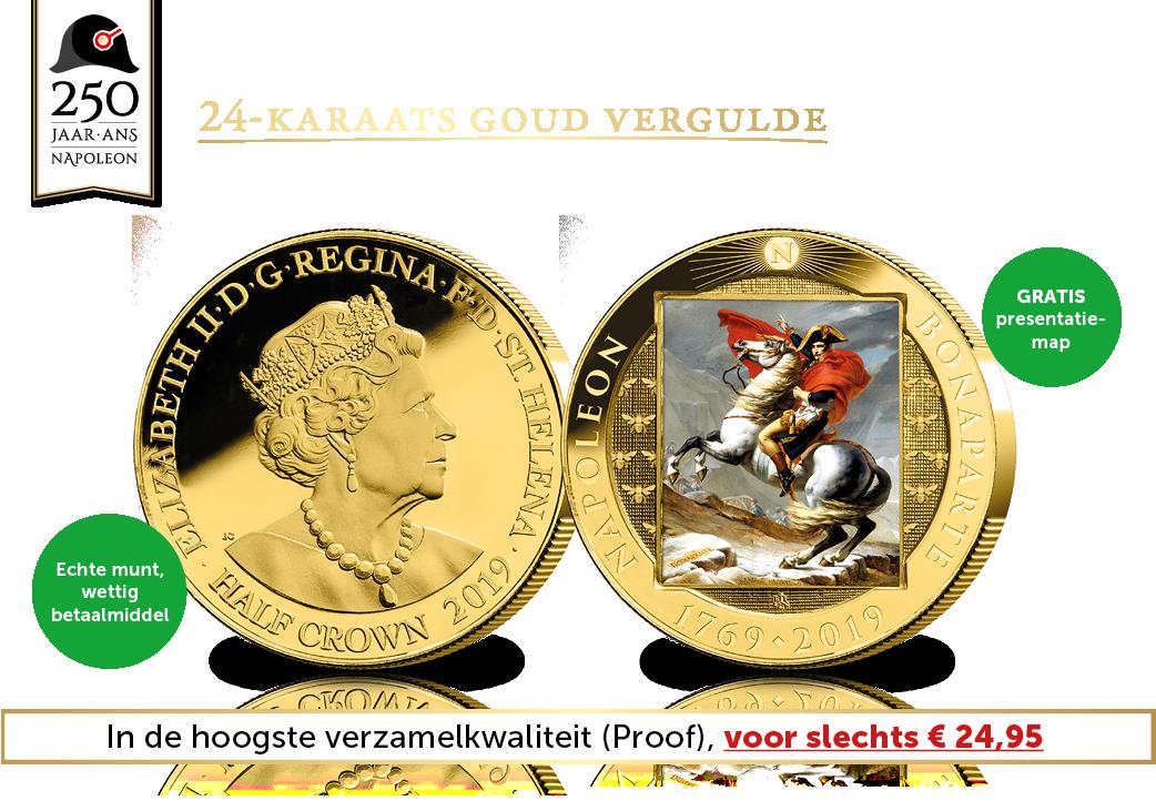 Officiële 1/2 Crown herdenkingsmunt Napoleon een mythe geboren met goud verguld